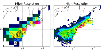 Prism Observed Precipitation: Left) Low resolution at 16km. Right) High resolution at 4km.