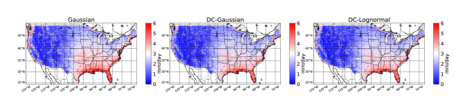 Daily Root Mean Square Error (RMSE) computed at each location for years 2006 to 2015 (test set) in CONUS. Left) Gaussian, Middle) Conditional-Gaussian, and Right) Conditional-Lognormal. Red corresponds to high RMSE while blue corresponds to low RMSE.