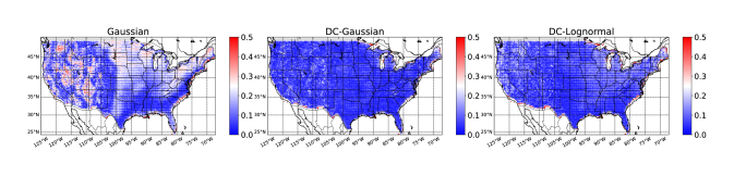 Root Mean Square Error (RMSE) of calibration (probability-frequency) computed at each location for years 2006 to 2015 (test set) in CONUS. Left) Gaussian, Middle) DC-Gaussian, and Right) DC-Lognormal.