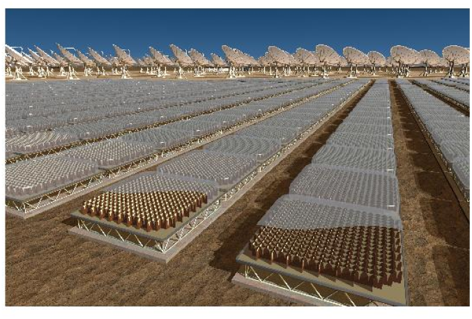 SKA reference design: aperture array for low frequencies and parabolic dishes for high frequencies (Copyright: SKA Programme Development Office and XILOSTUDIOS).