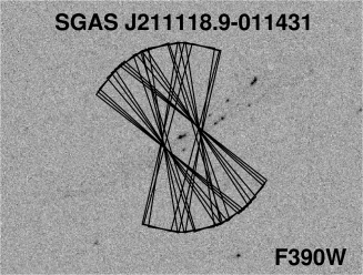 Findercharts indicate what portion of each lensed galaxy was targeted for MagE spectroscopy. RCS-GA032727