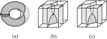 Examples of the building blocks: (a) the first solid torus block, (b) the flip block, (c) the transitional block