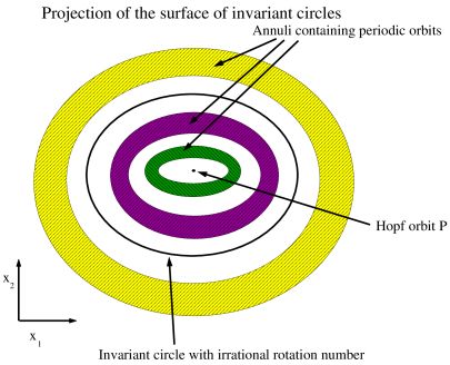 Orbits near a Hopf bifurcation lying on the two-dimensional surface in the three-dimensional center manifold: Here we project the parabolic region shown in Figure