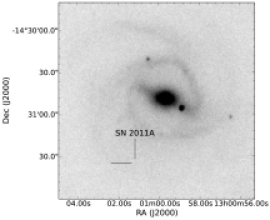 Stacked images for each of the SNeIIn showing the SN location. Each image contains the actual SN except that of SN 2011A because no images were taken with the SN present. For SN 2011A, the tick marks indicate where the SN would have been had we obtained post-SN images of this region.