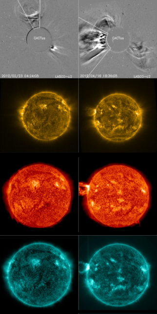 CACTus LASCO detections of a stealth CME (left on the top row) and of a CME associated with coronal signatures (top row, right). Subsequent rows illustrate the coronal signatures associated with these events in different wavelengths (PROBA2/SWAP 174, SDO/AIA 304 and SDO/AIA 131, respectively). The CME on the right was associated with an erupting filament and an M1.7 flare on the east solar limb.