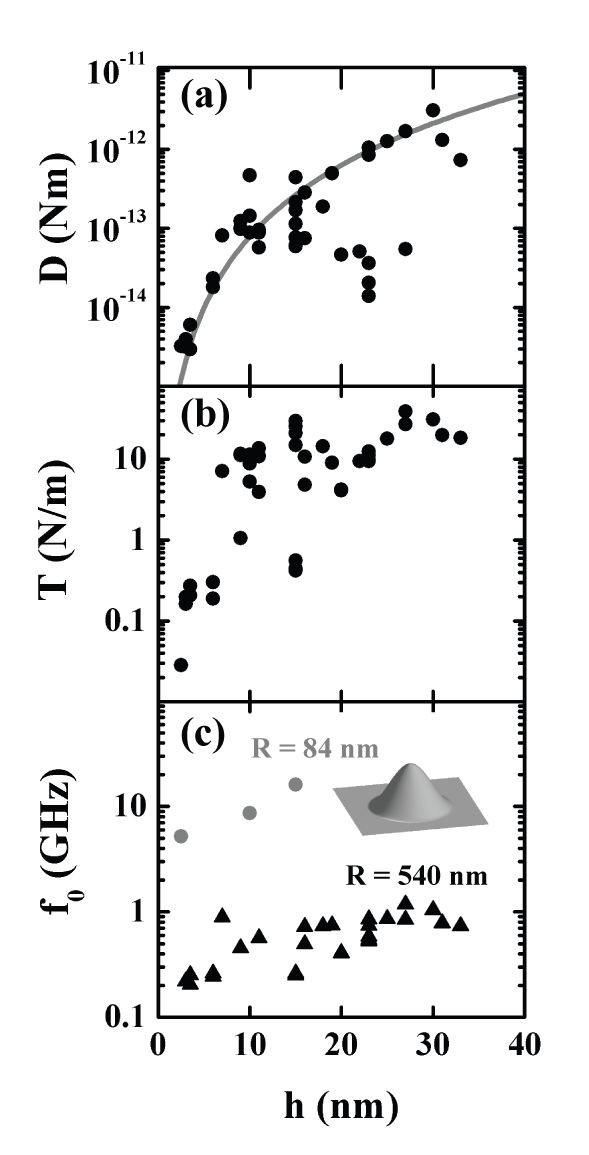 Thickness-dependence of the mechanical properties extracted from the fits. (a) The bending rigidity