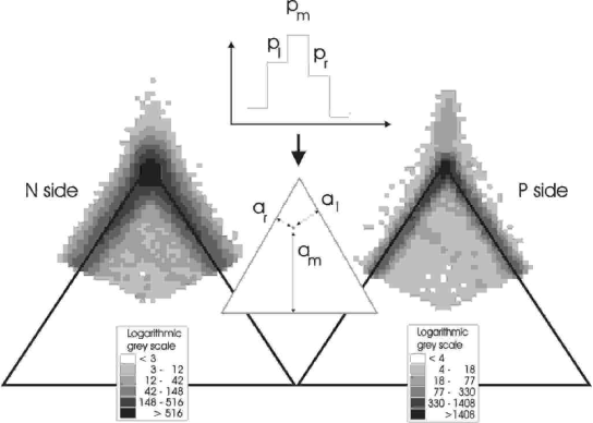 Principle of a triangle plot and triangle plots for both detector sides of one module. The