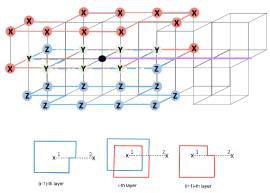 The purple solid line is the defect line. The red lines are X-operators with parallel loops on