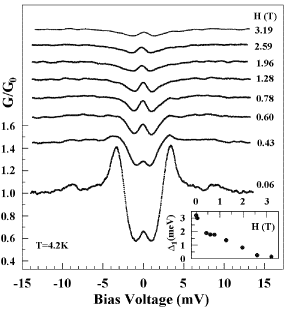 Magnetic field dependence of the experimental tunneling conductance spectra normalized by the conductance at 15 V. The inset shows the field dependence of