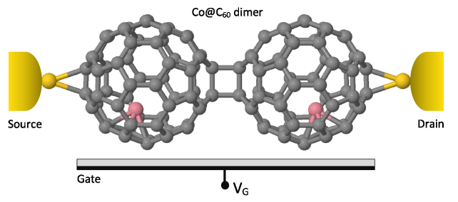 (Color online) The relaxed geometry of an endohedral fullerene Co@C