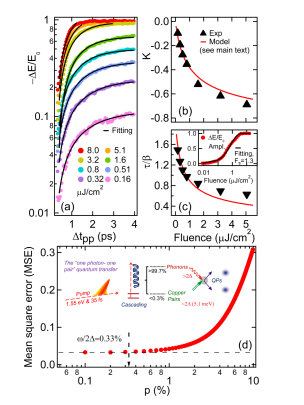 (color online). (a) Pump-probe dynamics measured in experiment (dots) and fitted by RT model (black line). (b), (c) Fluence dependence of RT model parameters K and