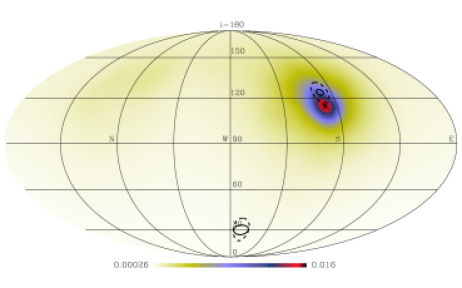 The density of normal vectors to the orbital planes of the stars in our primary (