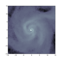 Simulation of the formation of an isolated magnetic disc using the two regularization schemes. The first two panels show a slice of the gas density field, while the third panel shows the time evolution of mass of stars and gas within a