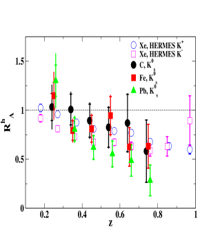 Left panel shows the CLAS data from the EG2 experiment for the hadronic multiplicity ratio for