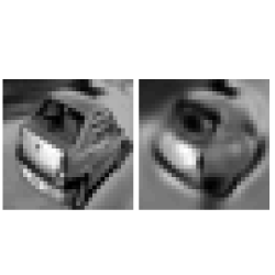 32x32 natural grayscale image (left) and its approximation using a network with 2 hidden layers