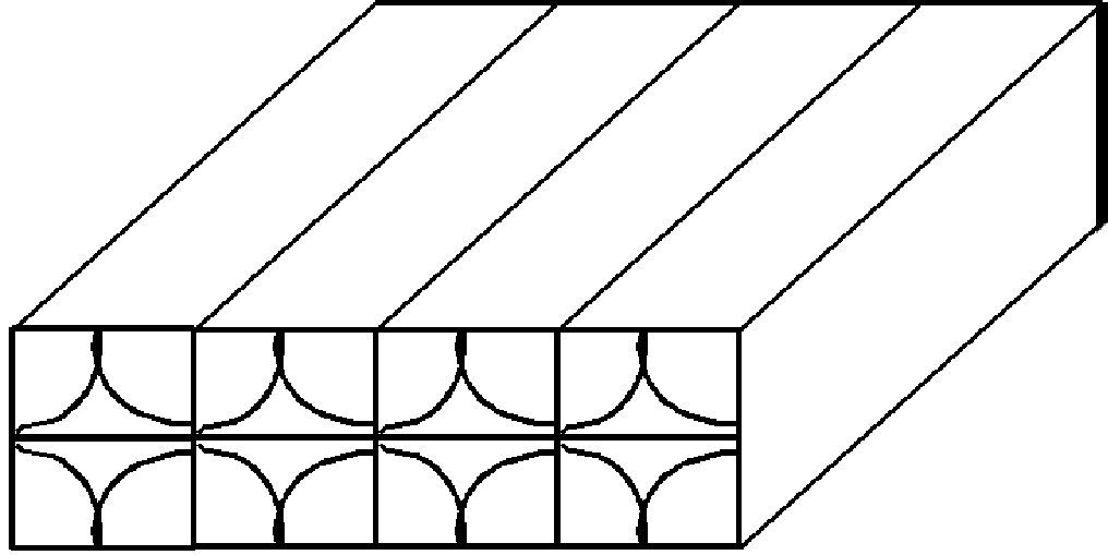 Cross-sectional view of a section of a polycarbonate water module panel, showing the internal wall structure. The approximate panel thickness is 25.4mm. Drawing is not to scale.
