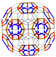 Closing off the remaining cells with blue and red pieces completes the model of the 120-cell