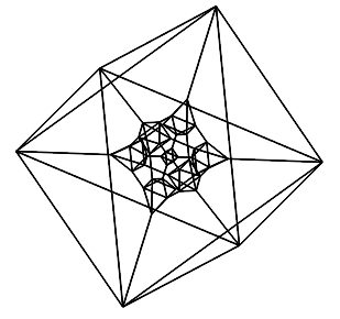 A north pole stereographic projection of the truncated 16-cell and truncated hypercube.