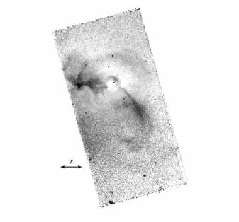 The Chandra image (0.5-2.5 keV) processed as described in the text to remove the large scale radial surface brightness gradient. Many faint features are seen including 1) the bifurcation of the eastern and southwestern arms, 2) the brightening at the eastern and southwestern arms, 3) the 14kpc (