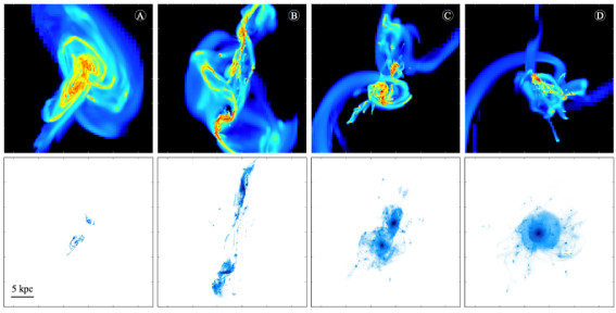 Surface density maps of the gas component (top) and the stars formed in the simulation (bottom) at four key stages of the interaction, in the central