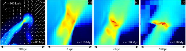 Density maps of the gas in the Northern tidal tail, at several stages. In the left-most panel, the white arrows indicate the density-weighted velocity field averaged along the third, missing, dimension. The gas piles up close to the bend of the tail in the region, where the velocity field is the weakest, and where the tidal field was compressive a few