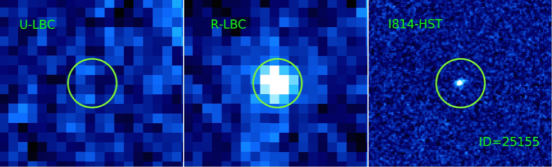 The cutouts of source ID=25155 in the U band (left) and in the R band (center) by the LBC instrument. The cutout on the right shows the same sky area observed by HST in the I814W filter. The position of the spectroscopic redshift is indicated by the green circle. The size of the cutouts is 4.3 arcsec. This object seems isolated in the HST I814W band, but there is a possible hint for the presence of a very faint source on the north-west of the bright galaxy at