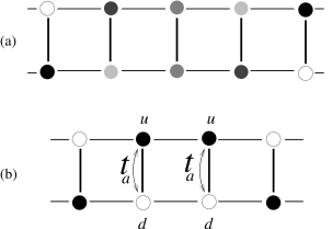 (a) A schematic plot of a non-local kink-like excitation in an ordered ladder. The darkness of the circles corresponds to the charges on the sites of the ladder. (b) Local kink excitation with a sharp change of the order parameter. The electron states for one of the electrons moving between sites