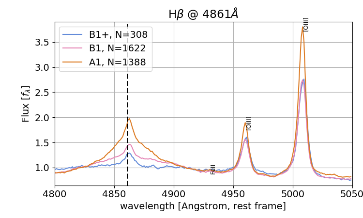 Spectral stacks for objects classified as type 1 AGN. A zoom on the