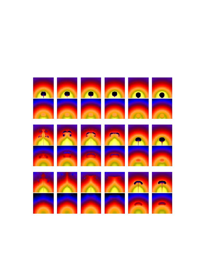 Mid-plane density slices (upper panels of each set) and simulated X-ray surface brightness maps (lower-panels of each set) for the six simulations presented in this paper (Runs 1–6 ordered from left to right). Results are shown for three times,
