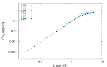 Data collapse plot of the finite size scaling function