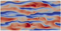 (left) Isosurfaces and (middle and right) contours of instantaneous streamwise velocity fluctuation