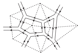 A section of a planar diagram in the Hermitian matrix model, which represents an orientable triangulated random surface.