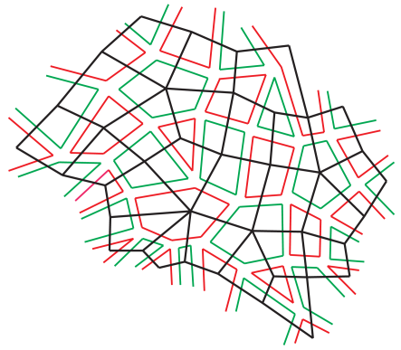 A secton of a resolved Feynman graph for the real matrix model, which has alternating red and green loops. Its dual lattice is made of randomly connected squares.