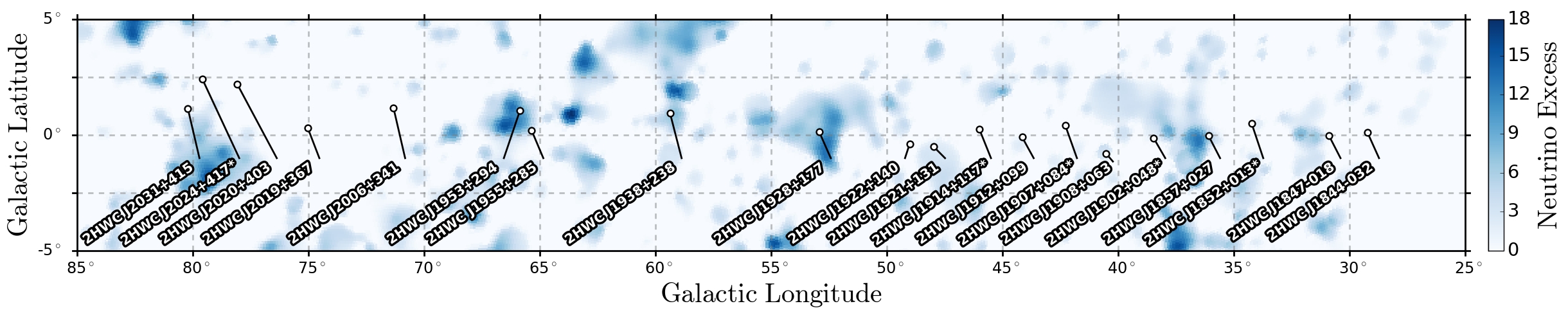 Map of the neutrino excess in IceCube with HAWC sources overlaid.