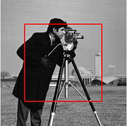 Segmentation results for the classic cameraman image with