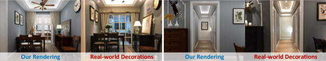 Our rendering vs.real decoration guided by our furniture models and layouts.