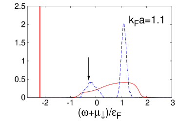 Spectral function in the polaron regime, using an explicit