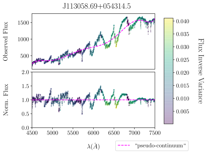 An example of a pseudo continuum-normalized using Gaussian smoothing LAMOST spectrum of an Mdwarf from our training set. The effective Gaussian smoothing width is 50Å. All spectra from each data subset (training, validation, and survey) are normalized with this continuum fitting method as defined by