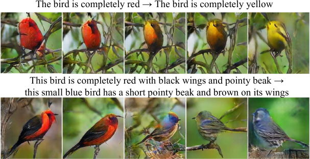 (Left to right) Images generated by interpolating two sentence embeddings. Gradual appearance changes from the first sentence's meaning to that of the second sentence can be observed. The noise vector