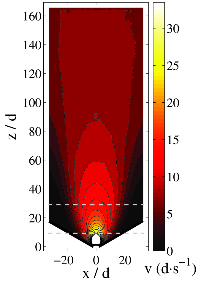 (color online). (a) Contour plot of the average downward velocity field,