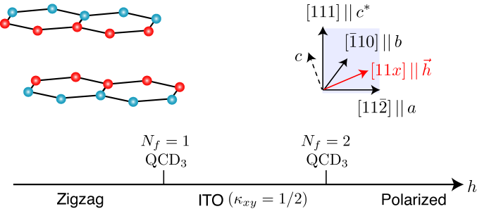 Under an external magnetic field, a Kitaev material may go through different phases: a zigzag ordered state, a non-Abelian chiral quantum spin liquid with Ising topological order (ITO), and a trivial polarized state. A similar phase diagram was observed in experimental