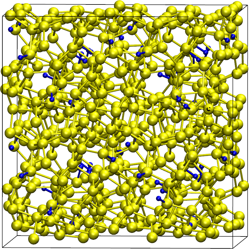 Snapshot of the large a-Si:H configuration in the simulation box. Hydrogen atoms and bonds with Silicon atoms are blue, Silicon atoms and their bonds are yellow.