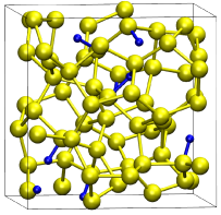 Snapshot of the small a-Si:H configuration in the simulation box. Hydrogen atoms and bonds with Silicon atoms are blue, Silicon atoms and their bonds are yellow.