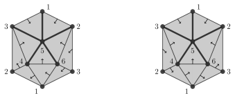 Two orientations of the rooted spanning tree of