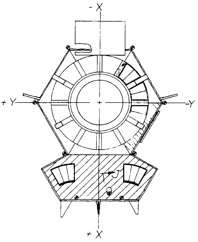 Bottom view of the Pioneer 10/11 vehicle, showing the louver system. A set of 12 2-blade louver assemblies cover the main compartment in a circular pattern; an additional two 3-blade assemblies cover the compartment with science instruments.