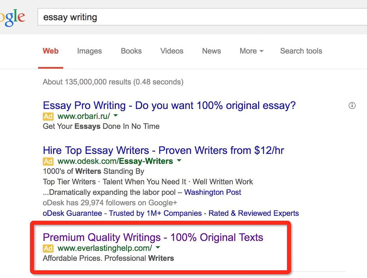Search on Google: Essary Writing
