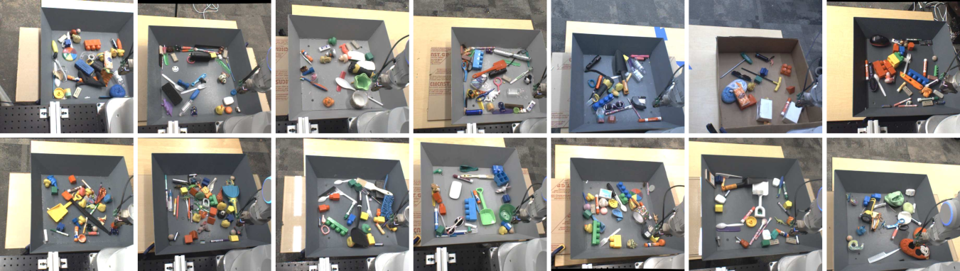 Images from the cameras of each of the robots during training, with each robot holding the same joint configuration. Note the variation in the bin location, the difference in lighting conditions, the difference in pose of the camera relative to the robot, and the variety of training objects.