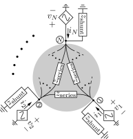 Kron-reduced electrical network recovered from a homogeneous originating network. The shaded region captures the inter-circuit interactions through identical line impedances that are equal to