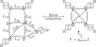 Schematic of lossless inductive network and the Kron-reduced counterpart examined in Section
