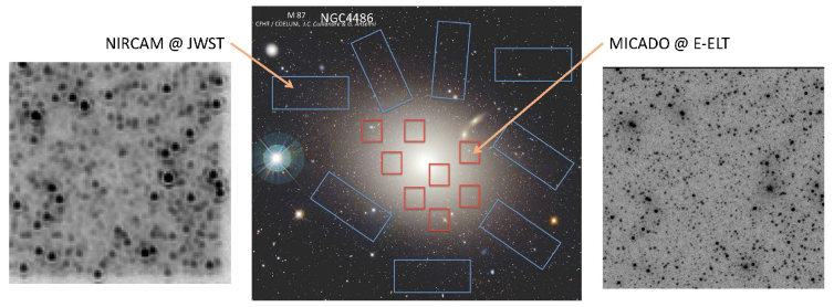 Optical image of an elliptical galaxy in the Virgo cluster, with possible fields that could be surveyed by JWST (blue rectangles) or MICADO (red squares) overlaid. As an illustration of the power of spatial resolution in measuring resolved stellar populations, the same crowded field has been simulated for JWST (left) and MICADO (right). MICADO is expected to push 3mag deeper than JWST in such situations.